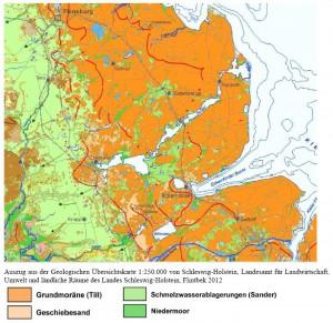 Auszug aus der Geologischen Übersichtskarte 1:250.000 von Schleswig-Holstein, Landesamt für Landwirtschaft, Umwelt und ländliche Räume des Landes Schleswig-Holstein, Flintbek 2012